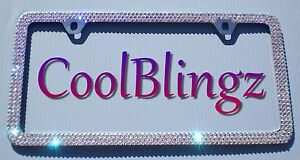 3 Row Crystal Ab Bling License Plate 2 Hole Frame Made W Swarovski Elements
