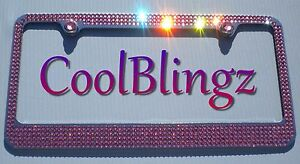 5 Row Pink Crystal License Plate Frame Bling Caps Made With Swarovski Elements