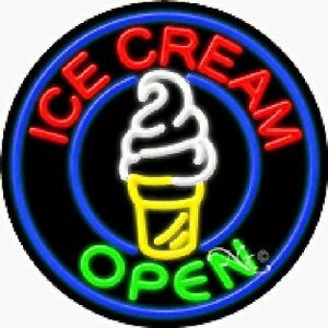 Ice Cream Open Handcrafted Real Glasstube Neon Sign