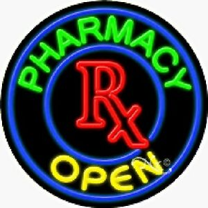 Pharmacy Open Handcrafted Real Glasstube Neon Sign