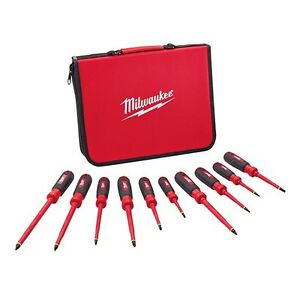 Milwaukee 48 22 2210 10 Pc 1000v Insulated Screwdriver Set W Eva Case