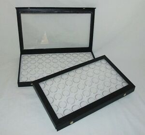 Package Of 2 Clear Top Jewelry Display Cases With 100 Gem Jars White