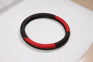 Black Red Pvc Leather Steering Wheel Cover Acura Audi A4 Integra Sport 38cm