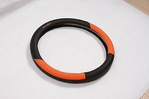 Black Orange Pvc Leather Car Steering Wheel Cover Audi Bmw Luxury 38cm Slip On
