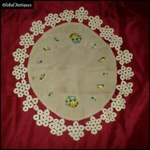 19c Vintage Hand Embroidered Silk Table Cover W Lace