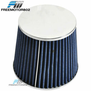 Blue 3 Inch Performance Inlet Cone Air Filter Intake Universal For Most Car