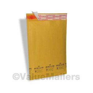 100 0 Kraft Ecolite 6 5x10 Bubble Mailers Padded Envelopes Mailing Bags Cd Dvd