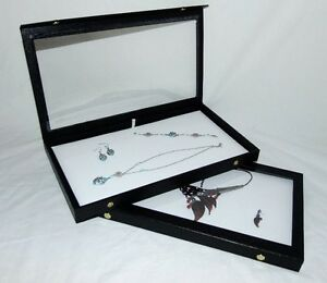 Clear Top Jewelry Display Cases With White Pad Package Of 2