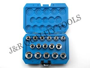 1 2 Dr 16pc Penta Spline Socket Set Sae Metric Torque
