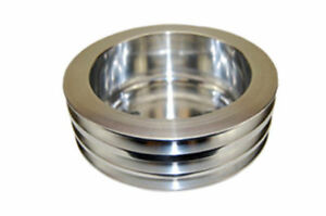 Sbc Chevy 283 350 Polished Aluminum Lwp Triple Groove Crankshaft Pulley