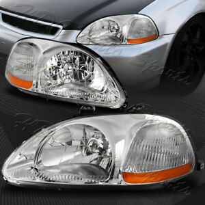 For 1996 1998 Honda Civic Chrome Housing Clear Lens Amber Reflector Headlights