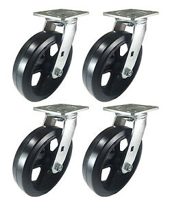 8 X 2 Heavy Duty rubber On Cast Iron Caster 4 Swivels