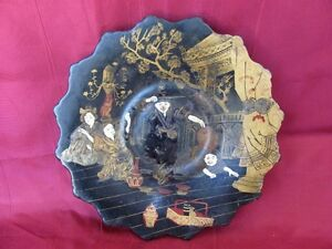 19c Extremely Rare Antique Japanese Hand Painted Color Lacquer Wooden Plate
