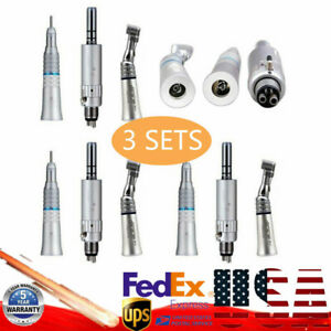 3 set Dental Slow Low Speed Handpiece Contra Angle With 4 Hole E type Air Mortor