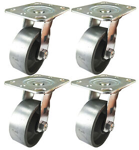 4 X 1 1 2 Steel Wheel Caster 4 Swivels