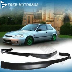 Fit 99 00 Honda Civic Ek Sedan Coupe Front Rear Bumper Lip Spoiler Type R Style