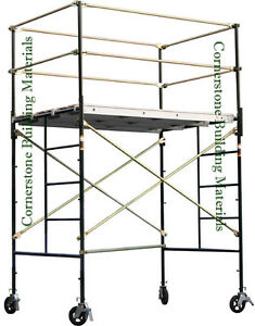 Heavy Duty Scaffold Rolling Tower 5 X 7 X 7 4 Standing Deck High W Railing