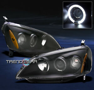 2001 2002 2003 Honda Civic Halo Projector Headlight Jdm Black Dx Ex Gx Hx Lx Set