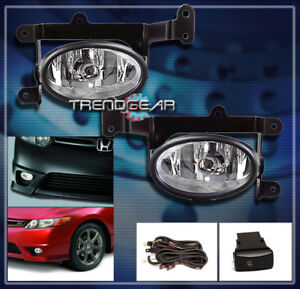 2006 2007 2008 Honda Civic Dx Ex Lx Si Coupe 2dr Bumper Chrome Fog Light Harness