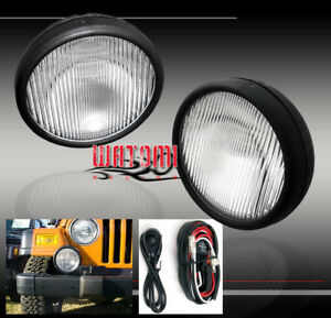 97 06 Jeep Wrangler Bumper Driving Replacement Fog Lights Lamps Chrome W harness