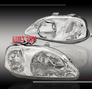 1999 2000 Honda Civic Crystal Headlight Ek9 Dx Ex Lx Si