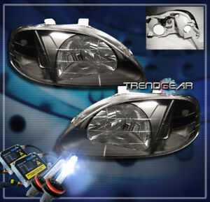 1999 2000 Honda Civic 2 3 4dr Crystal Headlights hid Kit Lamp Jdm Black Gx Hx Lx