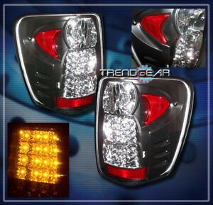 For 1999 2004 Jeep Grand Cherokee Led Tail Brake Light Rear Lamp Black 2000 2001