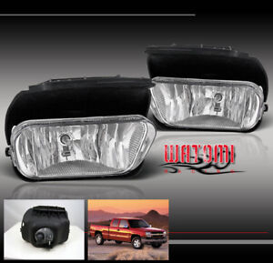 03 06 Chevy Silverado 02 06 Avalanche Bumper Driving Chrome Fog Light Kit W bulb