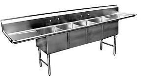 Ace 4 Compartment Stainless Steel Sink 16 x20 W 18 Drainboards Etl Se16204d18