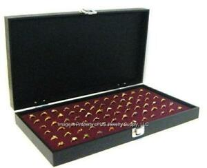 Key Lock Grain Leatherette Wood Solid Top 72 Ring Burgundy Jewelry Display Case