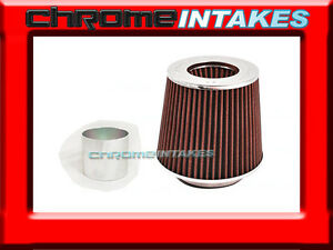 Red Universal 2 5 63 5mm Flange Cone Air Filter For Audi Air Intake pipe