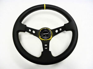 350mm Vms Racing Deep Dish Steering Wheel Black Leather Gold Stitching 6 Bolt