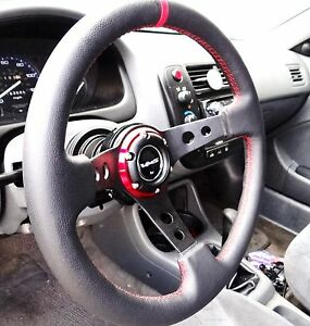 Vms 96 00 Honda Civic Red Steering Wheel Black Hub Quick Release Combo 350mm