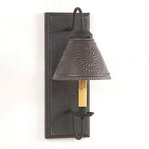 Irvins Country Crestwood Wall Sconce With Tin Shade In Black Over Red