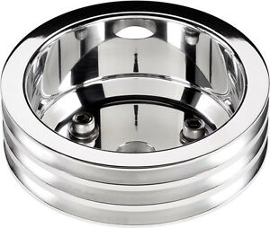 Billet Specialties Bbc Polished Crankshaft Pulley Long Wp 3 V Belt Grooves Chevy