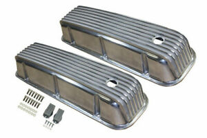 1965 95 Bbc Chevy Polished Aluminum Finned Valve Covers With Hole Tall 396 502