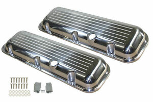 1965 95 Bbc Chevy Polished Aluminum B Milled Valve Covers W Hole Short 396 502