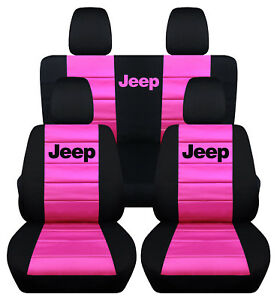 Front Rear Black And Hot Pink Jeep Seat Covers Fit Jeep Wrangler 2011 2018 2dr