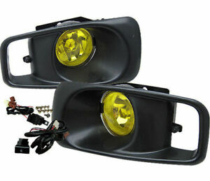 For 1999 2000 Honda Civic Ek Jdm Yellow Lens Driving Fog Lights W Switch Rh