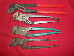 Channel Lock Knipex Lot Of 4 Adjustable Pliers Interlocking Channel Groove