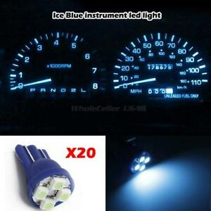 20x Ice Blue Green T10 Gauge Cluster Instrument Panel Speedometer Led Light Bulb