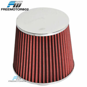 Red 3 Inch Performance Inlet Cone Air Filter Intake Universal