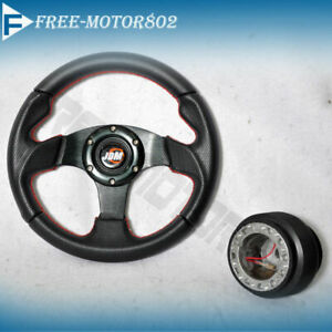 Steering Wheel Type 2 280mm Black With Jdm Logo Horn Red Stitch Hub Adapter