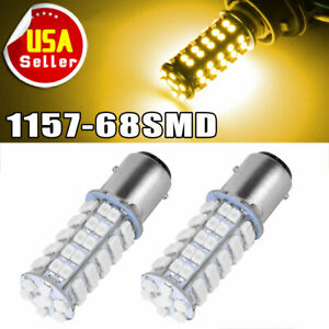 2x Amber Yellow 1157 Bay15d 68smd Turn Signal Parking Backup Led Light Bulbs