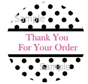 Thank You Black Polka Dots Design 2 1 Inch Sticker Labels