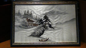 Antique 19c Japanese Silk Embroidery Of Palace Fuji And Boat On Water Framed 2