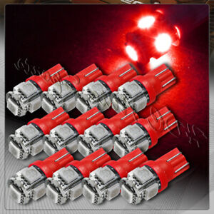 12x 5 Smd Led T10 Wedge Interior Instrument Panel Gauge Replacement Bulbs Red