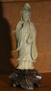 Antique Chinese Light Green Stone Hand Carved Standing Quan Yin Statue On Base