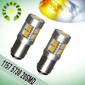 2pcs 1157 Bay15d 20 Smd Amber Yellow White Car Turn Signal Led Bulb Lights 1142