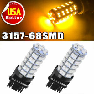 2 Pcs Amber Yellow 3157a 3457a 4157na 3157 68 Smd Parking Bulb Lamp Led Lights